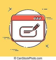 caixa, computador, texto, -, vetorial, mensagem, ícone