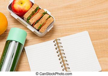 caixa, conceito, comer, limpo, trabalhando, alimento, trabalho, cima, dieta, almoço, saúde, lugar, hábitos, escrivaninha, fim, branca, cuidado