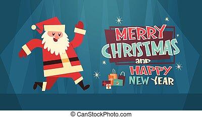 caixa, conceito, inverno, saudação, feriados, feliz, cartão, santa, ano, novo, bandeira, presente natal, feliz