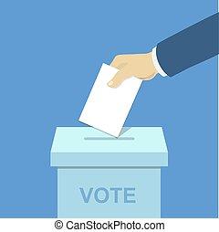 caixa, conceito, mão, papel, pôr, votando, voto