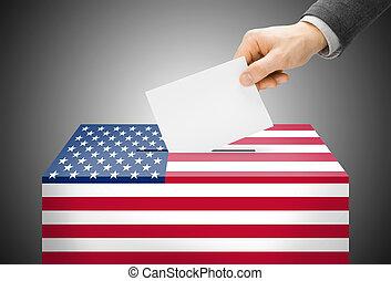 caixa, conceito, pintado, nacional, -, bandeira, estados, cores, unidas, votando, voto