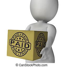 caixa, confirmação, selo, mostrando, pago, fatura, pagamento