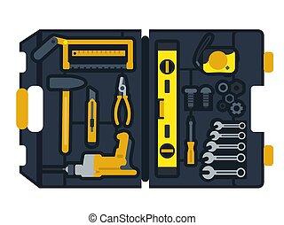 caixa, construção, vetorial, ferramentas, ilustração