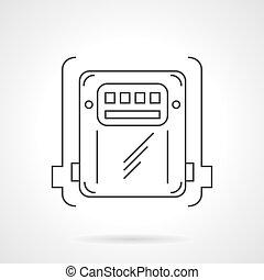 caixa, contador, vetorial, linha magra, ícone