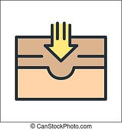 caixa, cor correio, ícone