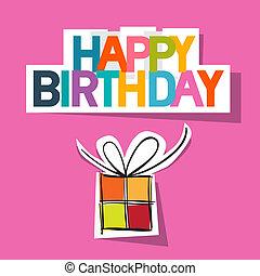 caixa, cor-de-rosa, corte, card., aniversário, papel, fundo,...