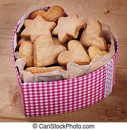 caixa, Coração, biscoitos, FORMA, tabela