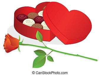 caixa, coração, chocolates., dado forma