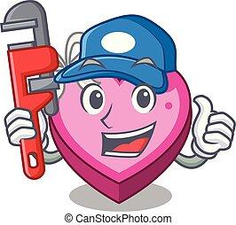 caixa, coração, encanador, sono, caricatura