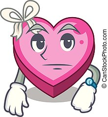 caixa, coração, esperando, sono, caricatura