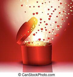 caixa, coração, explodindo, presente, dado forma