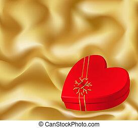 caixa, coração, presente, dado forma
