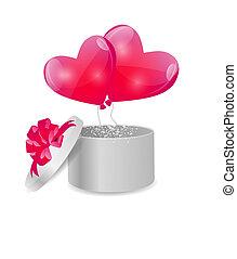 caixa, coração, presente, dado forma, valentines, ilustração, vetorial, balões, dia, cartão