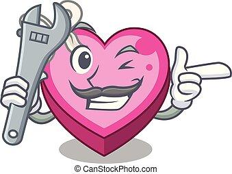 caixa, coração, sono, caricatura, mecânico