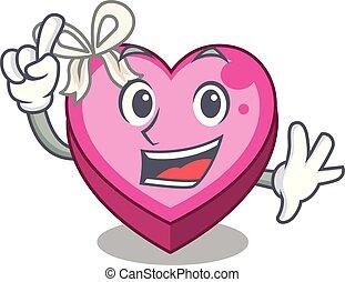 caixa, coração, sono, dedo, caricatura