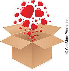 caixa, corações
