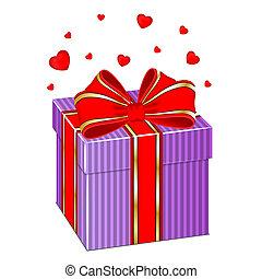 caixa, corações, presente