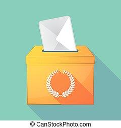 caixa, coroa, longo, sinal, laurel, sombra, voto