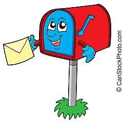 caixa, correio, letra