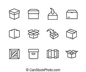 caixa, crates, ícones
