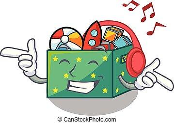 caixa, crianças, escutar música, brinquedos, caricatura