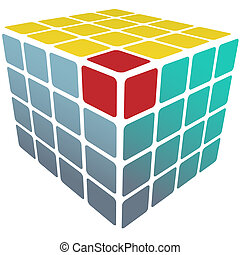 caixa, cubo, ouro, quebra-cabeça, solução, branca, 3d