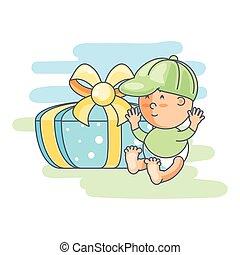 caixa, cute, presente, menino, boné, bebê