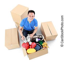 caixa, day., papelão, homem movente