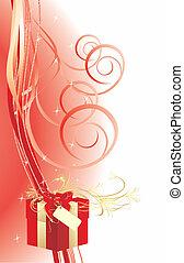 caixa decorativa, cartão, vermelho, bow.