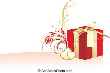 caixa decorativa, dourado, coração vermelho