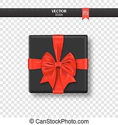 caixa decorativa, illustration., presente, ribbon., arco, vetorial, vermelho