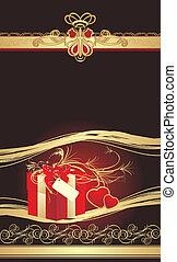 caixa decorativa, vermelho, corações