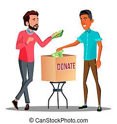 caixa, dinheiro, dois, ilustração, isolado, doação, pôr, homens negócios, vector.