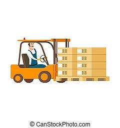 caixa, dirigindo, car, forklift, personagem, armazém