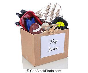 caixa, doação, brinquedo, conduzir