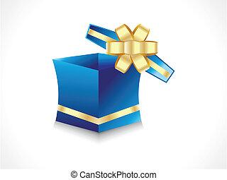 caixa, dourado, abstratos, presente