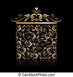 caixa, dourado, presente, ornamento, stylized, desenho, floral