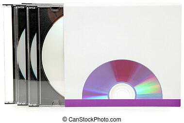 caixa, dvds, etiqueta, pacote, em branco