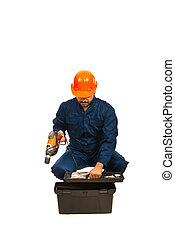 caixa, eletricista, trabalhador