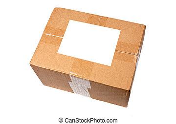 caixa, em branco, etiqueta