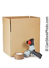 caixa, embalagem, distribuidor, fita, despacho
