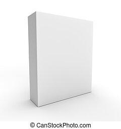 caixa, embalagem, fundo branco, em branco