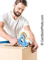 caixa, embalagem, homem