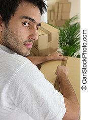 caixa, embalagem, homem movente