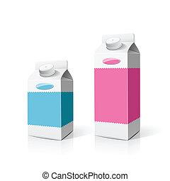 caixa, embalagem, leite, coloridos