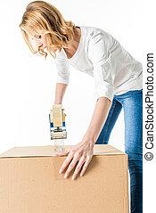 caixa, embalagem, mulher