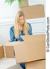 caixa, embalagem, mulher, papelão