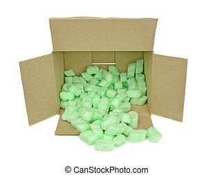 caixa, embalagem, papelão, lascas