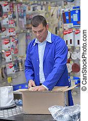 caixa, embalagem, papelão, trabalhador, ordem
