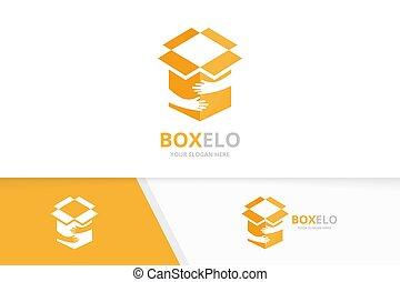caixa, entrega, combination., pacote, logotipo, símbolo, logotype, ou, equipe, vetorial, desenho, mãos, abraço, icon., original, amizade, template.